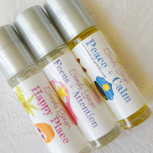 Little Girls Rollerball Trio, Happy Place+Attention+Peace Essential Oil Rollers, Back To School Essentials