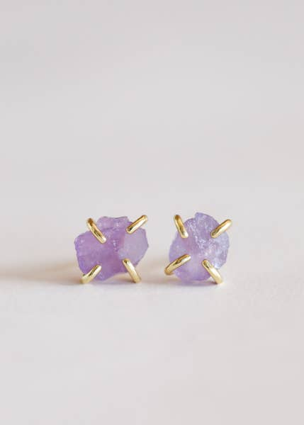 Amethyst Gemstone Earrings ll Growth + Peace