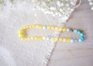 Aquamarine, Turquoise, Labradorite and Amazonite + Raw Baltic Amber Teething Necklace
