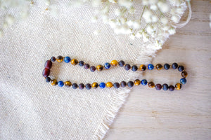 Tiger's Eye and Lapis Lazuli  + Raw Baltic Amber Necklace ll Pain ll Calming ll Focus