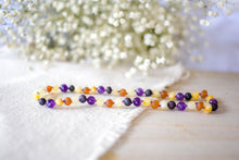 Amethyst and Honey, Black, and Buttermilk Baltic Amber Teething Necklace