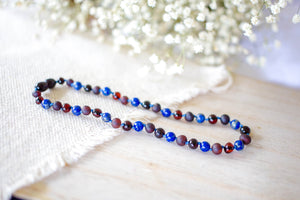 Lapis Lazuli with Raw and Polished Cherry Baltic Amber Teething Necklace ll ADHD Help ll Pain ll Stress ll Drooling