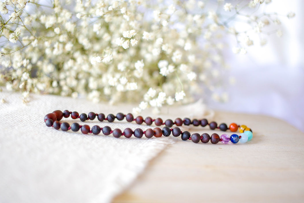 Rainbow Gemstones( 1 Row ) + Raw Cherry Baltic Amber Teething Necklace ll  Pain ll Stress ll Drooling
