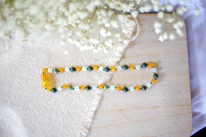 Green Lace Agate and Moonstone+ Raw Apricot Baltic Amber Necklace ll Teething