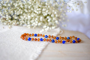 Lapis Lazuli + Raw and Polished Cognac Baltic Amber Teething Necklace ll Pain ll Fussiness ll School Stress