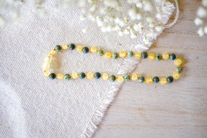 Green Lace Agate + Raw Lemon Baltic Amber Necklace ll Teething