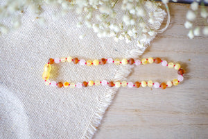 Rose Quartz + Raw Multi Color Baltic Amber Teething Necklace ll Pain ll Calming