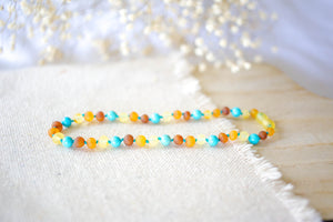 Raw Turquoise + Tri - Color Baltic Amber Necklace ll Teething ll Drooling ll Arthritis + More.