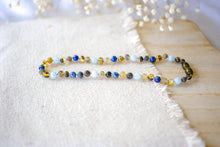 Lapis Lazuli, Aquamarine + Raw Green Baltic Amber Teething Necklace ll Teething