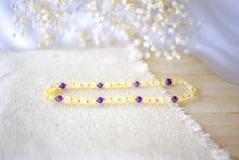 Amethyst + Raw Lemon Baltic Amber Teething Necklace ll Calming ll Pain