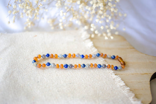 Labradorite, Lapis Lazuli + Polished Baltic Amber Teething Necklace ll Pain ll Drooling ll Inflammation