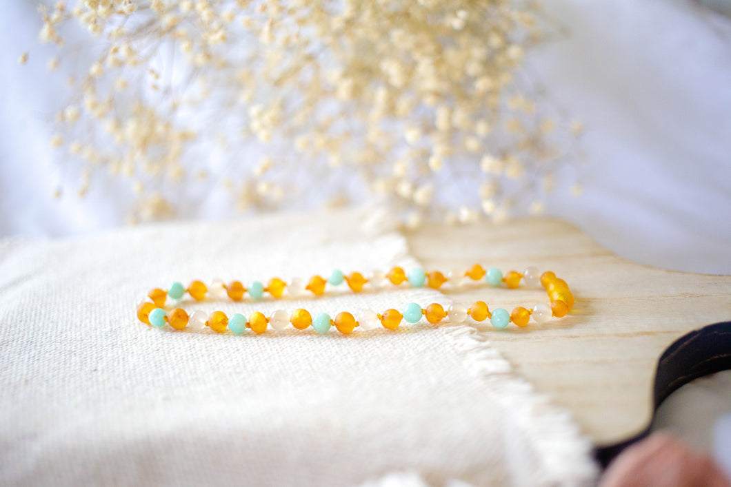 Amazonite, Moonstone + Raw Honey Baltic Amber Necklace ll Pain ll Teething ll Calming