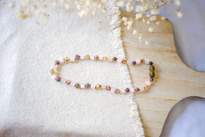 Rose Quartz + Raw Green Baltic Amber Teething Necklace ll Teething