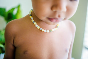 Moonstone, Labradorite + Raw/Polished Buttermilk Baltic Amber Teething Necklace ll Pain ll Calming ll Drooling + More