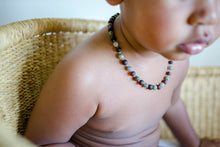Green Lace Agate and Labradorite + Raw Cherry Baltic Amber Teething Necklace ll Pain ll Drooling ll Stress