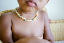 Amazonite and Sunstone + Raw Buttermilk Baltic Amber Teething Necklace ll Pain ll Drooling ll Stress