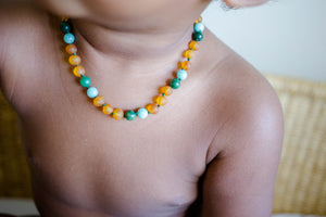 African Jade, Amazonite + Honey Baltic Amber Teething Necklace ll Teething