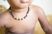 Crazy Agate + Raw Cherry Baltic Amber Necklace ll Teething