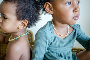 Turquoise + Raw Buttermilk Baltic Amber Teething Necklace ll General Pain ll Fatigue ll Drooling