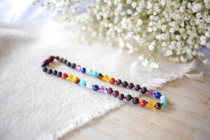 Rainbow Gemstones( 3 Rows ) + Raw Cherry Baltic Amber Teething Necklace  ll  Pain ll Stress ll Drooling