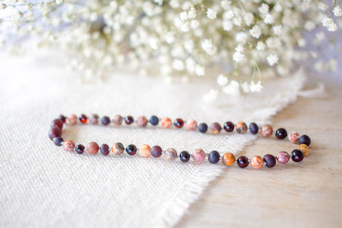 Leopard-Skin Jasper + Raw and Polished Cherry Baltic Amber Necklace ll Pain ll Arthritis