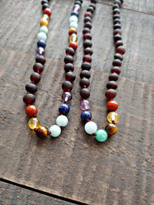 Rainbow Gemstones( 3 Rows ) + Raw Cherry Baltic Amber Teething Necklace ll  Pain ll Stress ll Drooling - SimplyGinger