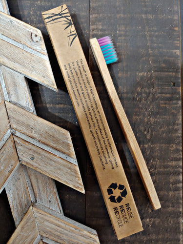 Blue + Purple Bristle Bamboo Toothbrush ll Kid ll Soft Bristles - SimplyGinger