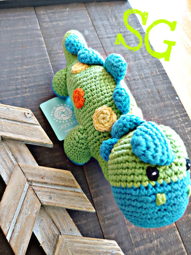 Green Steggy Dinosaur Rattle ll Pebble ll Fair Trade - SimplyGinger