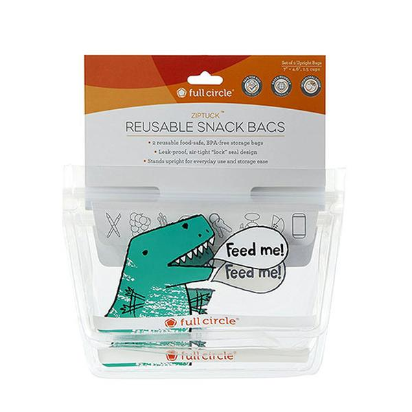 Full Circle Adults + Kids Reusable Ziptuck Snack Bags 2 Count ll Dino - SimplyGinger