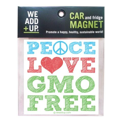 PEACE LOVE GMO FREE MAGNET - SimplyGinger