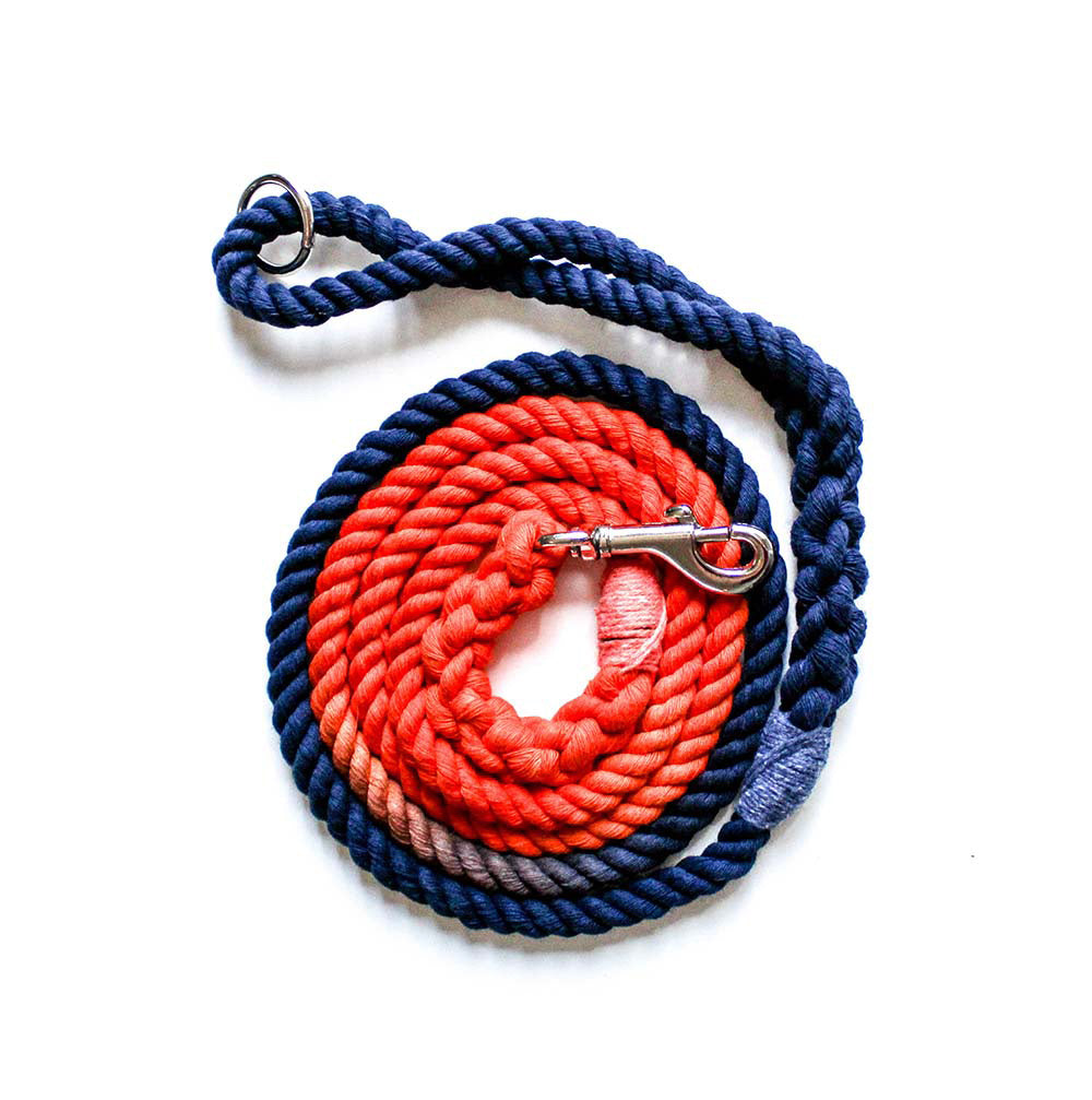 8mm Rope Leash in Navy/Orange, Leashes, Jolly Hound, - Winnie Lou - The Canine Company