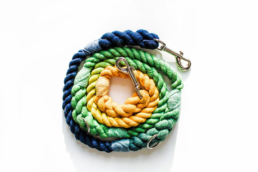 12mm Two-way Rope Leash in Navy/Emerald/Yellow, Leashes, Jolly Hound, - Winnie Lou - The Canine Company