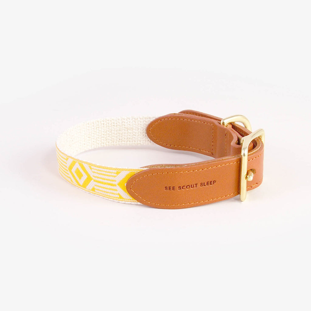 Out of My Box Leather Collar in Marigold & Cream, Collars, See Scout Sleep, - Winnie Lou - The Canine Company