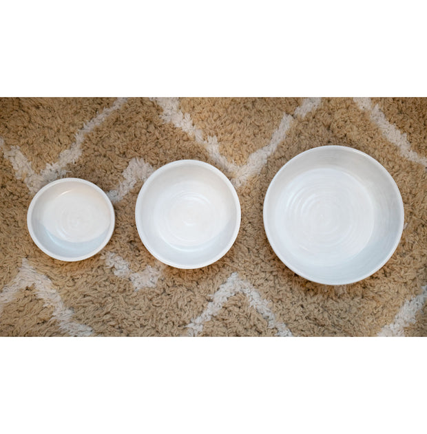 Ceramic Dog Bowl in White/Natural, Bowls, Laura Kotsmith, - Winnie Lou - The Canine Company