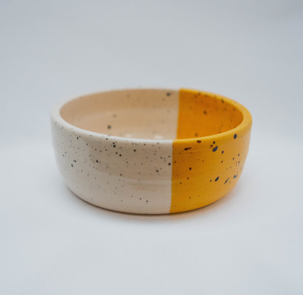 Ceramic Dog Bowl in Yellow & Speckle, Bowls, Laura Kotsmith, - Winnie Lou - The Canine Company