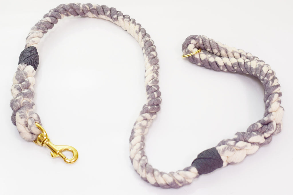 16mm Galaxy Rope Leash in Grey/Natural with Brass Hardware, Leashes, Jolly Hound, - Winnie Lou - The Canine Company