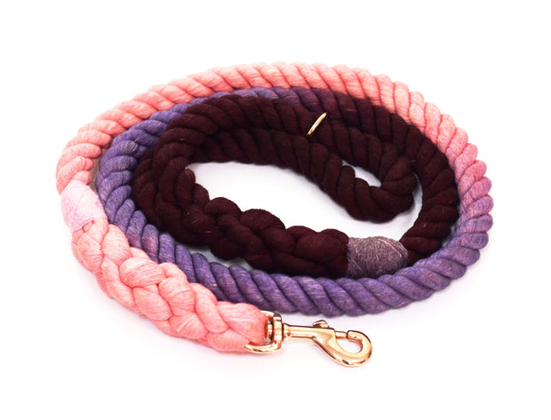 16mm Rope Leash in Mulberry/Lavender/Baby Pink with Rose Gold Hardware, Leashes, Jolly Hound, - Winnie Lou - The Canine Company