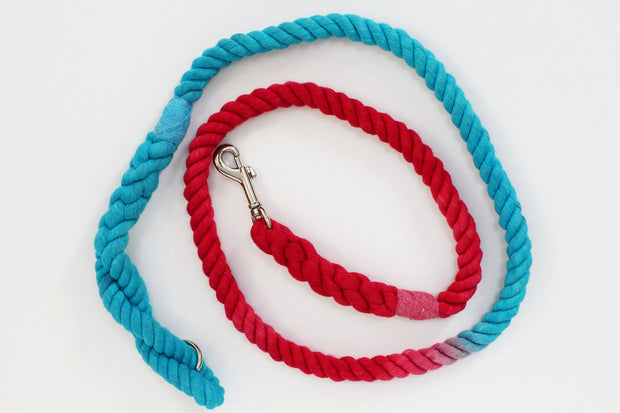 12mm Rope Leash in Turquoise & Red, Leashes, Jolly Hound, - Winnie Lou - The Canine Company