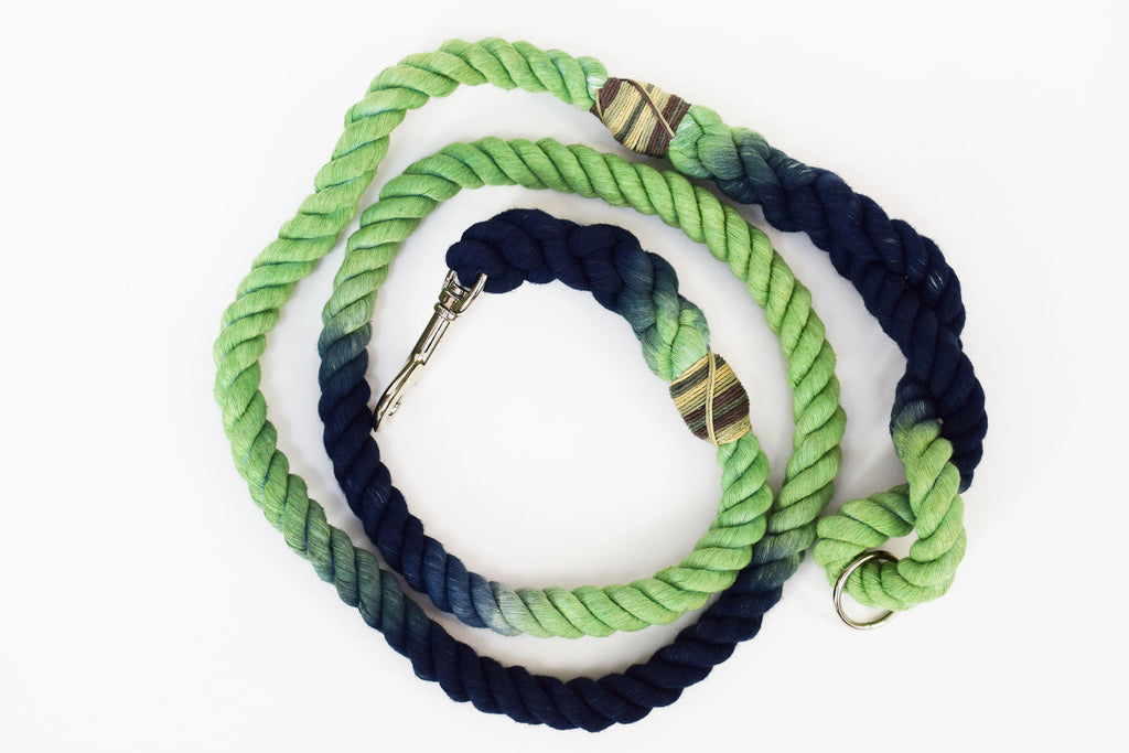 12mm Rope Leash in Navy/Emerald Marble, Leashes, Jolly Hound, - Winnie Lou - The Canine Company