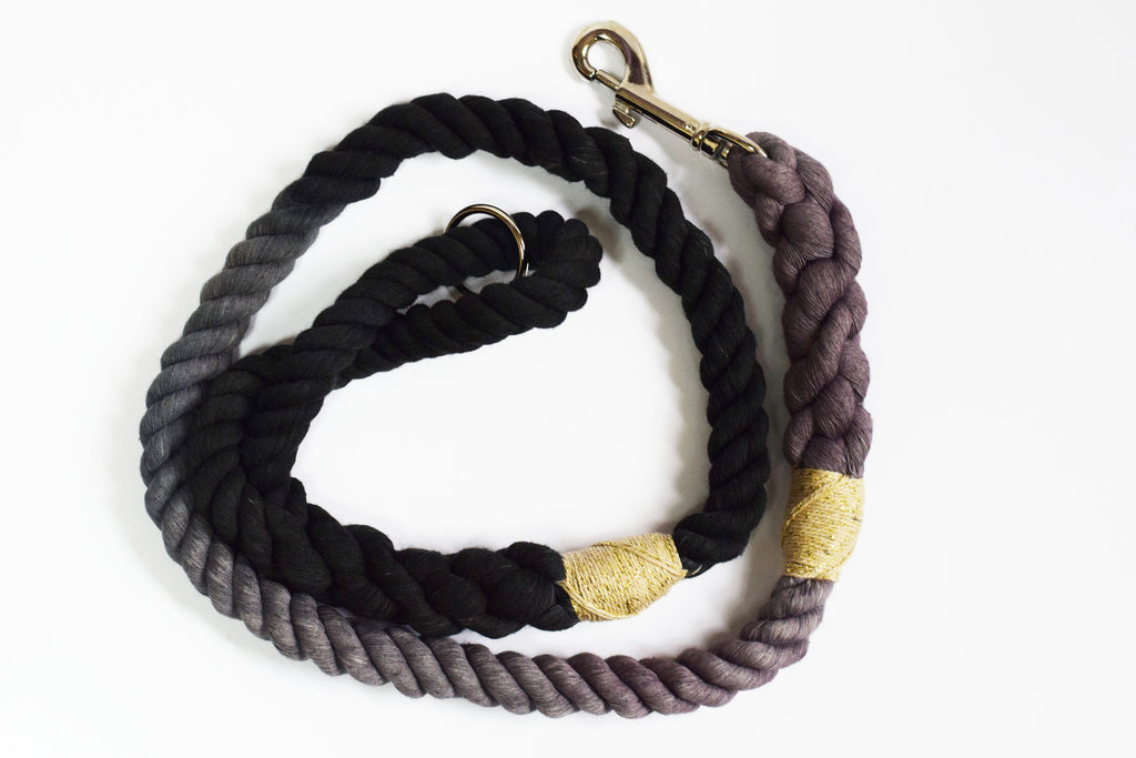 12mm Rope Leash in Grey & Black w/ Gold String, Leashes, Jolly Hound, - Winnie Lou - The Canine Company