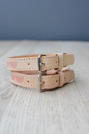 Leather Dog Collar in Natural Pink Moon, Collars, Benji & Moon, - Winnie Lou - The Canine Company