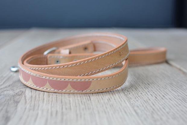 Leather Dog Leash in Natural Pink Moon, Leashes, Benji & Moon, - Winnie Lou - The Canine Company
