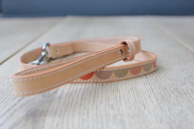 Leather Dog Leash in Natural Multi Moon, Leashes, Benji & Moon, - Winnie Lou - The Canine Company