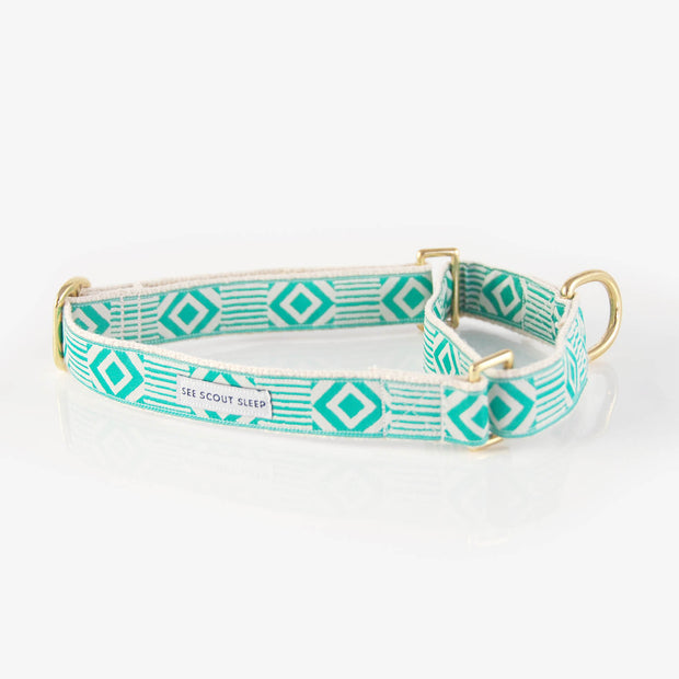 Out of My Box Martingale Collar in Teal & Cream, Collars, See Scout Sleep, - Winnie Lou - The Canine Company