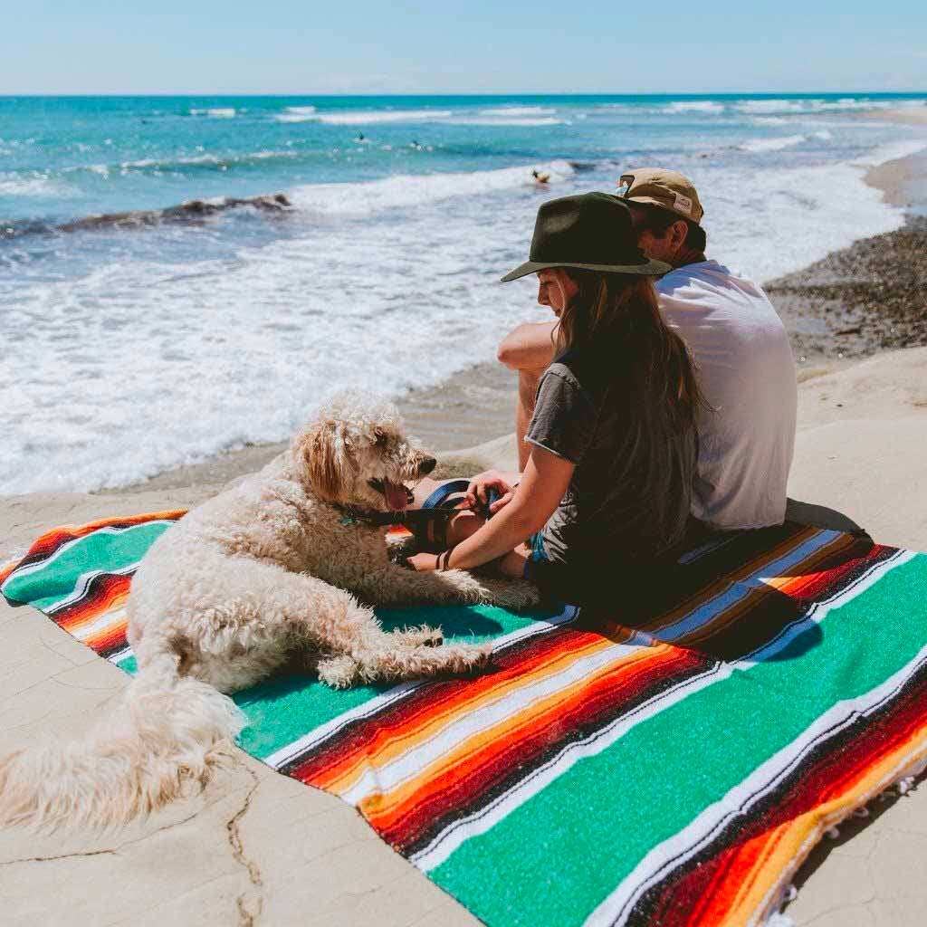 Baja Diamond Dog Blanket in Turquoise Sunset, Blankets, West Path, - Winnie Lou - The Canine Company