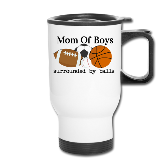Mom of Boys Travel Mug - white