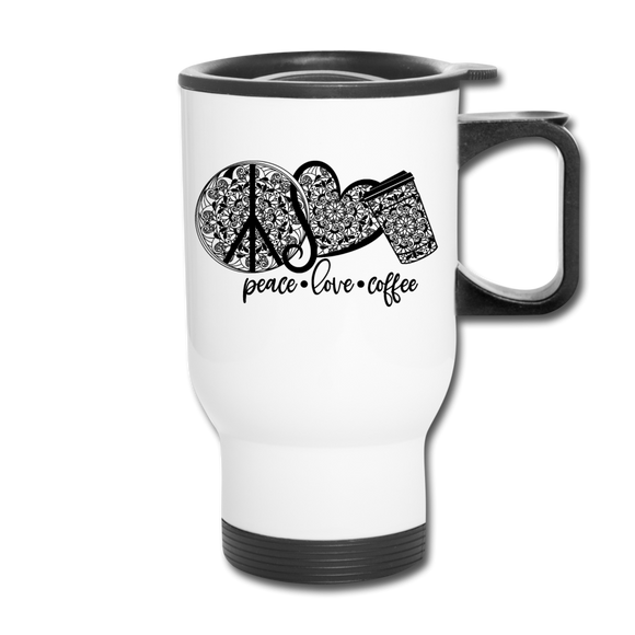 Peace Love Coffee Mandala - white