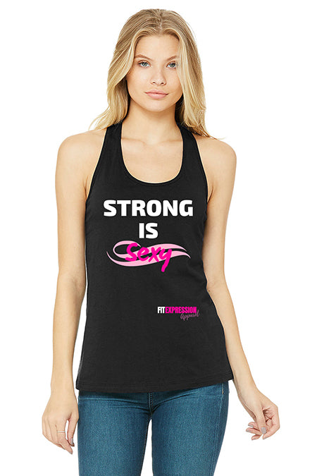 STRONG IS SEXY JERSEY RACERBACK TANK