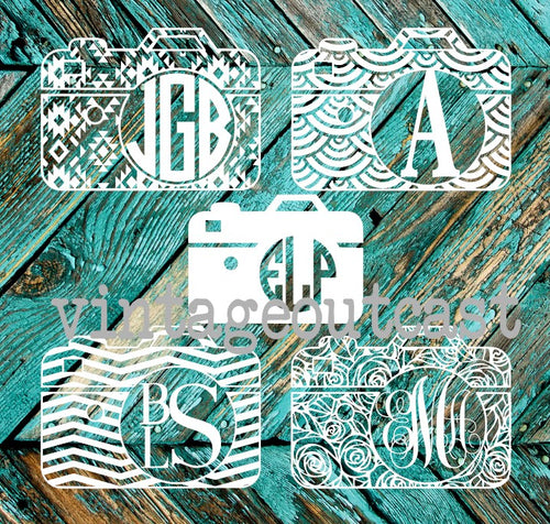 Camera Monogram Decal - Vintage Outcast