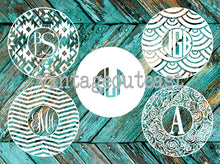 Patterned Circle Monogram Decal - Vintage Outcast
